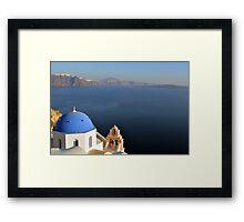 Blue church dome in Santorini, Greece Framed Print