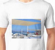 Reastaurant in Santorini, Greece Unisex T-Shirt