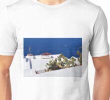 Caci on white terrace in Santorini, Greece Unisex T-Shirt