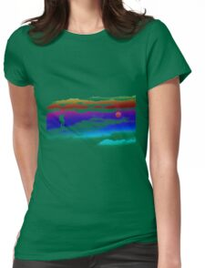 hiking at dawn moon Womens Fitted T-Shirt