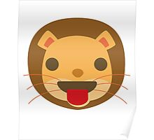 Funny Lion Emoji Tongue Out Poster
