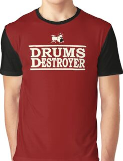 Drums Destroyer white color Graphic T-Shirt