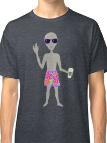 Awkward Alien Surfer With Coffee Classic T-Shirt
