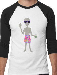 Awkward Alien Surfer With Coffee Men's Baseball ¾ T-Shirt