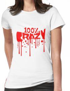 blut graffiti tropfen farbe 100 hundert prozent comic cartoon text schrift logo design cool crazy verrückt verwirrt blöd dumm komisch gestört  Womens Fitted T-Shirt
