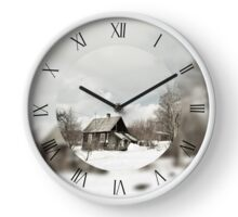 Old dilapidated wooden cottage house Clock