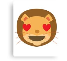 Funny Lion Emoji Heart and Love Eyes Canvas Print
