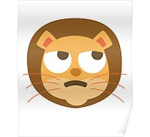 Funny Lion Emoji Thinking Hard and Hmm Look Poster