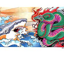 SHARK AND SNAKE by declantransam