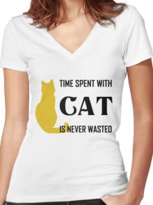 Time Spent with Cat is Never wasted | Cat Shirt Women's Fitted V-Neck T-Shirt