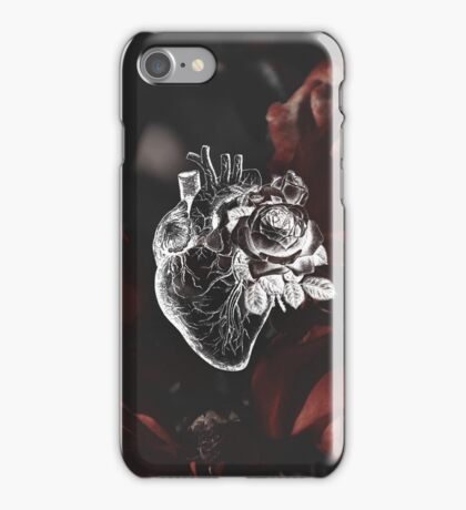 Floral Anatomical Heart With Moody Red Floral Background iPhone Case/Skin