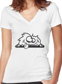 bescheuert haarig monster wuschelig verrückt lustig comic cartoon zottelig crazy cool gesicht  Women's Fitted V-Neck T-Shirt