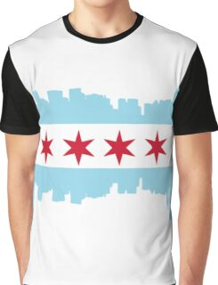 Chicago flag city background Graphic T-Shirt