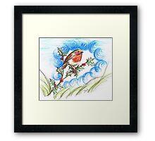 Robin's  Berry Treat Framed Print