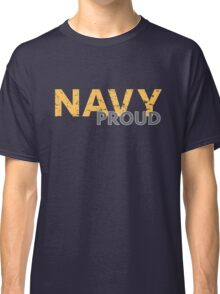 Navy Proud yellow distressed Classic T-Shirt