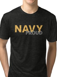 Navy Proud yellow distressed Tri-blend T-Shirt