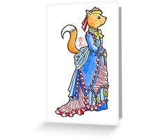 Vivien The Fox In Blue Victorian Dress Greeting Card