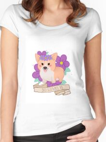 Lovely Chubby Corgi Women's Fitted Scoop T-Shirt