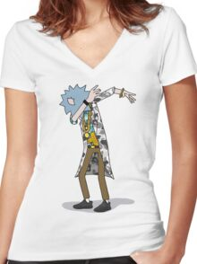 Wubba Lubba Dab Dab Rick - BAPE Variant No Background Women's Fitted V-Neck T-Shirt