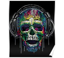 Dripping Skull Chilling With Music Headphones Poster