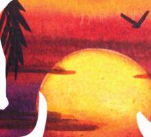 Yoga Woman Sunset Silhouette Sticker
