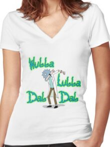 Wubba Lubba Dab Dab Rick with Background Women's Fitted V-Neck T-Shirt