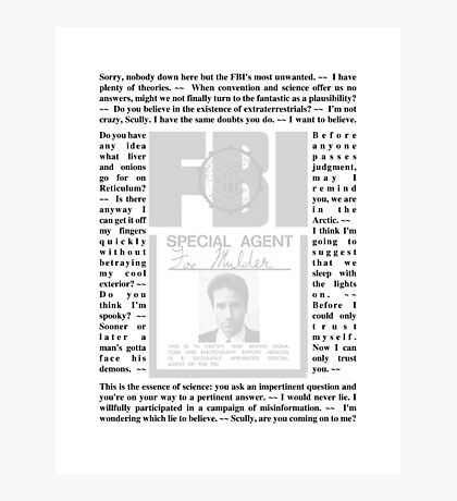 X-Files Quotes - Mulder (ID) Photographic Print