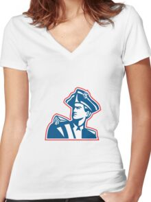 American Patriot Soldier Bust Retro Women's Fitted V-Neck T-Shirt