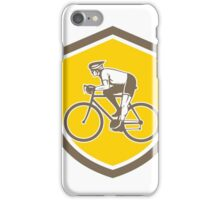 Cyclist Riding Mountain Shield Retro iPhone Case/Skin