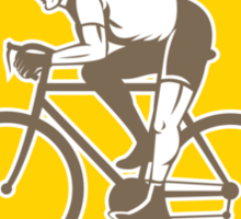 Cyclist Riding Mountain Shield Retro Sticker