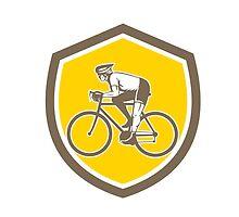 Cyclist Riding Mountain Shield Retro by patrimonio