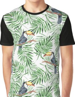 Toucan and green palm leaves. Seamless pattern Graphic T-Shirt