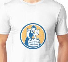 Housewife Washing Laundry Vintage Circle Unisex T-Shirt