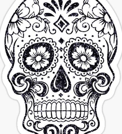 Black Glitter Sugar Skull Sticker