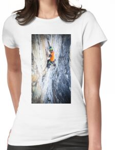 Rock Climbing on The Eiger Womens Fitted T-Shirt