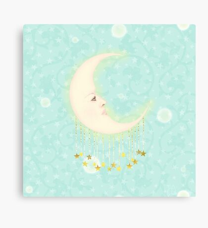 Woman in the moon adorned with golden stars Canvas Print