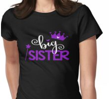 Faux Glitter Big Sister Family Fam Daughter Princess Queen Crown Stars Girly Womens Fitted T-Shirt