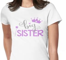 Big Sister Family Fam Daughter Princess Queen Crown Stars Girly Womens Fitted T-Shirt