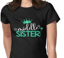 Faux Glitter Middle Sister Family Fam Daughter Princess Queen Crown Stars Girly Womens Fitted T-Shirt