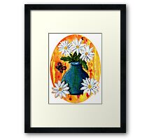 Mixed Media Daisies [Patch] Framed Print