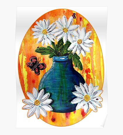 Mixed Media Daisies [Patch] Poster