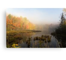 Early morning mist in fall - Mont Tremblant, QC Canvas Print