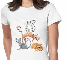Kazart Cat Stack Tshirt Womens Fitted T-Shirt