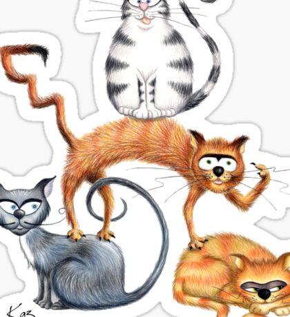 Kazart Cat Stack Tshirt Sticker