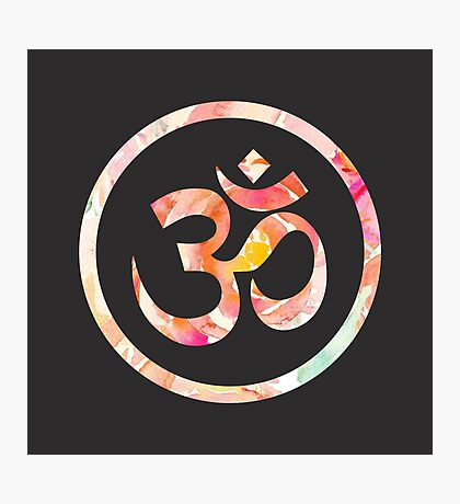 Om Aum Ohm Namaste Yoga Spiritual Hinduism Symbol Photographic Print