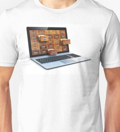 E-book library concept with laptop computer and vintage drawers Unisex T-Shirt