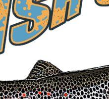 Fish on brown trout feeding Sticker