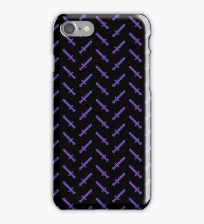 Purple Pixel Sword Pattern iPhone Case/Skin
