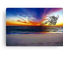 Enlightenment Laguna Beach Digital Sketch on Sunset  Canvas Print