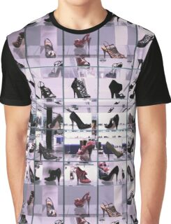 Bright and fashionable window of modern european shoe store Graphic T-Shirt